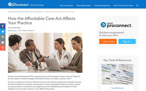 Screenshot of Pricing Page intuit.com - How the Affordable Care Act Affects Your Practice | Tax Pro Center | Intuit ProConnect - captured Nov. 21, 2019