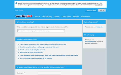 Screenshot of Contact Page sportingbet.com captured July 5, 2018