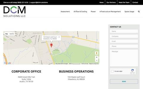 Screenshot of Contact Page dcim.solutions - Contact - DCiM Solutions, LLC - captured June 30, 2016