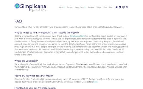 Screenshot of FAQ Page simplicana.com - Simplicana Ask a Professional Organizer! - captured Nov. 7, 2018