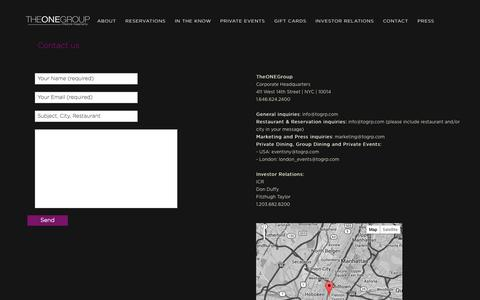 Screenshot of Contact Page togrp.com - Contact STK, Asellina, Heliot | TheONEGroup - captured Sept. 24, 2014