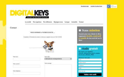 Screenshot of Contact Page digitalkeys.fr - Formulaire de contact pour joindre Digitalkeys   01 80 18 28 80 - captured Oct. 27, 2014