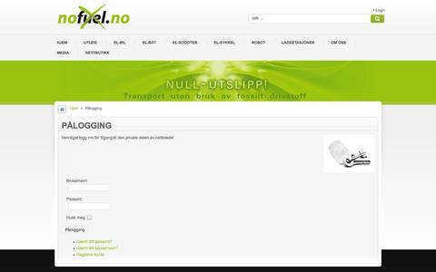 Screenshot of Login Page nofuel.no - Pålogging - captured Oct. 9, 2014
