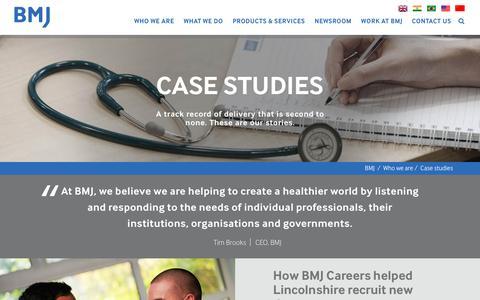 Screenshot of Case Studies Page bmj.com - Case studies | BMJ - captured July 27, 2016