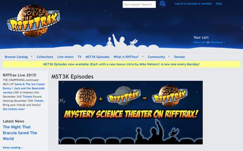 Screenshot of About Page rifftrax.com - MST3K Episodes on RiffTrax! - captured Nov. 3, 2015