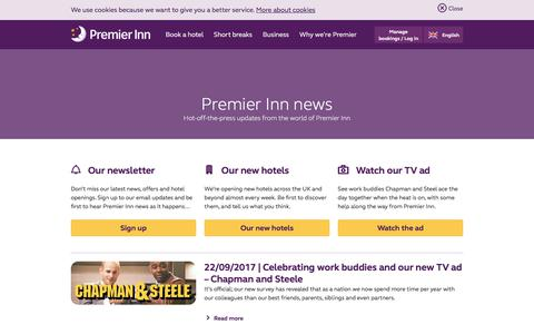 Screenshot of Press Page premierinn.com - Our Latest News | Premier Inn - captured Oct. 18, 2017