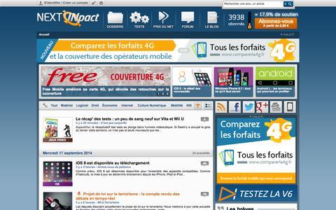 Screenshot of Home Page nextinpact.com - Next INpact - Actualités Informatique et High-Tech - captured Sept. 18, 2014