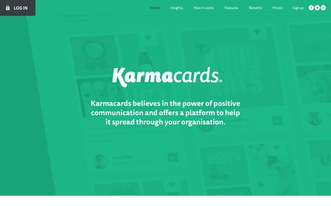 Screenshot of Home Page karmacards.io - Karmacards - Build your company culture - captured Oct. 28, 2016