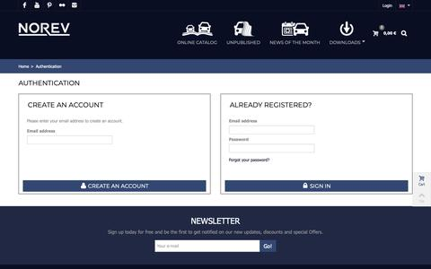 Screenshot of Signup Page Login Page norev.com - Authentification - Norev - captured Oct. 19, 2018