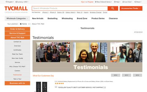Screenshot of Testimonials Page tvc-mall.com - Testimonials-TVC-Mall.com - captured July 6, 2018