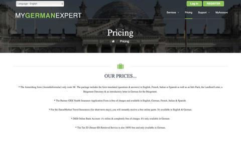 Screenshot of Pricing Page mygermanexpert.com - Pricing | myGermanExpert - captured Aug. 14, 2016