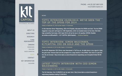 Screenshot of Press Page k1tcapital.com - A systematic quant based hedge fund | K1T Capital - captured Sept. 30, 2014