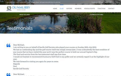 Screenshot of Testimonials Page dunmurrygolfclub.com - Testimonials - Dunmurry Golf Club - captured May 26, 2016