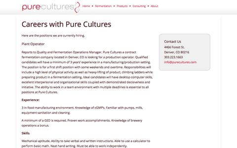 Screenshot of Jobs Page purecultures.com - Careers | Pure Cultures - captured Sept. 30, 2014