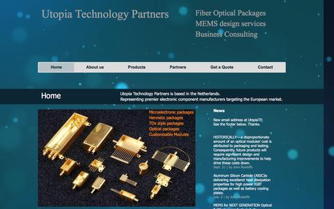 Screenshot of Home Page utopiatp.com - Hermetic Metal Packages & Optical Packages - captured Feb. 22, 2016