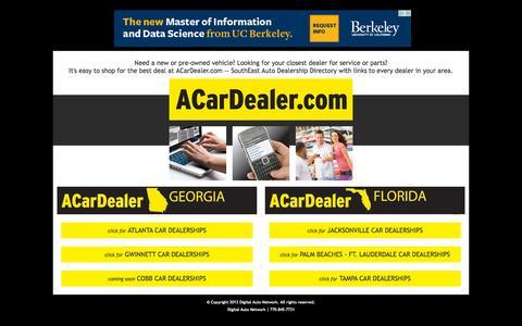 Screenshot of Home Page acardealer.com - Car Dealer | SouthEast Auto Dealership Directory - captured Sept. 12, 2015