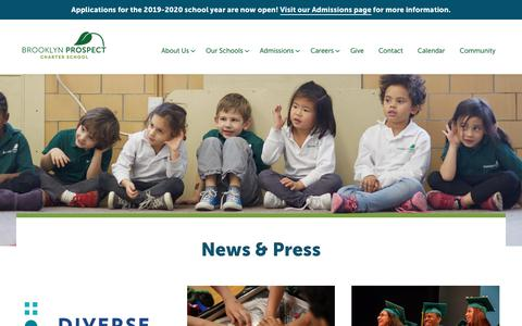Screenshot of Press Page brooklynprospect.org - News & Press - Brooklyn Prospect Charter School - captured Oct. 6, 2018