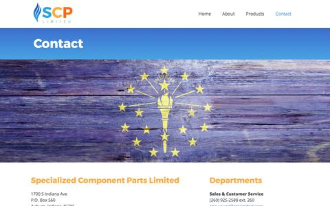 Screenshot of Contact Page scplimited.com - Contact Specialized Component Parts Limited | Hot Surface Igniters, Ignition Components, Gas Furnaces, IN - captured Dec. 17, 2015