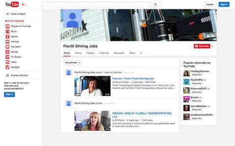 Screenshot of YouTube Page youtube.com - Florilli Driving Jobs  - YouTube - captured Oct. 23, 2014