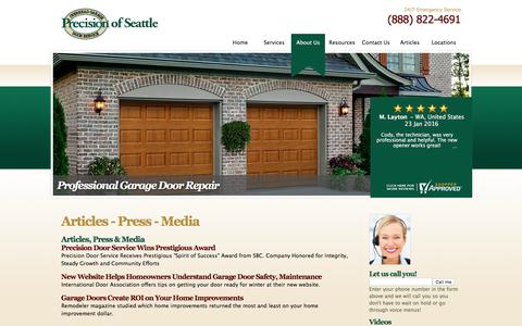 Screenshot of Press Page garagedoorseattle.com - Articles, Press & Media | Precision Garage Door Seattle - captured Jan. 30, 2016