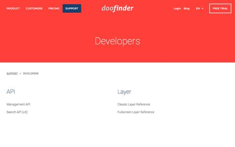 Screenshot of Developers Page doofinder.com - Doofinder | The best on-site search engine for your web or e-commerce site - captured Dec. 6, 2016
