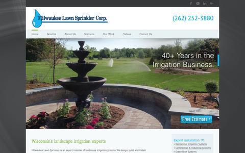 Screenshot of Home Page milwaukeelawnsprinkler.com - Milwaukee Lawn Sprinkler   Irrigation Systems   Menomonee Falls, WI - captured Nov. 14, 2017