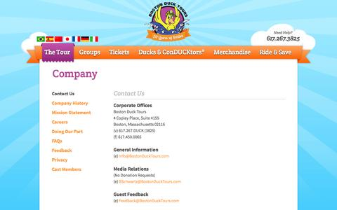 Screenshot of Privacy Page Contact Page Jobs Page FAQ Page bostonducktours.com - Boston Duck Tours - Company - captured Sept. 22, 2014
