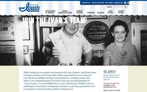 Screenshot of Jobs Page ivars.com - CAREERS | Ivar's - captured Sept. 23, 2014