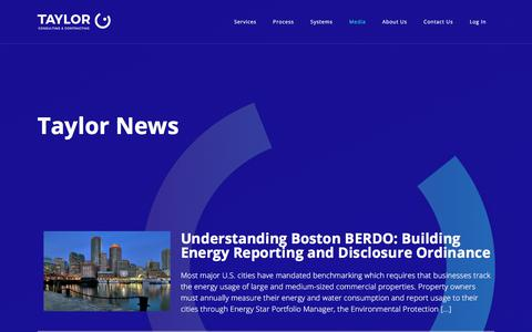 Screenshot of Press Page taylorcc.com - News - Taylor Consulting & Contracting | Energy & Utility Management Services - captured July 1, 2018