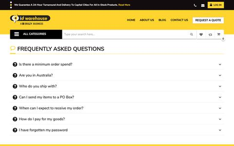 Screenshot of FAQ Page idwarehouse.com.au - frequently asked questions - captured Nov. 4, 2018