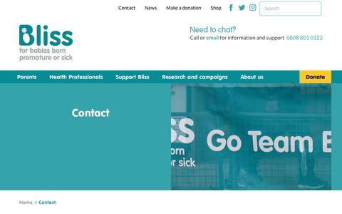 Screenshot of Contact Page bliss.org.uk - Contact   Bliss - captured Aug. 2, 2018