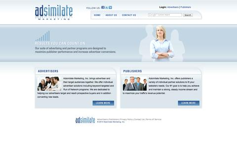 Screenshot of Home Page adsimilate.com - Online Advertising Company : PPC : Online Ads : Pay PerClick Advertising : Adsimilate.com - captured Sept. 22, 2014