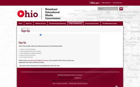 Screenshot of Signup Page ohio.gov - Broadcast Educational Media Commission > Video Conferencing > Sign-Up - captured Sept. 18, 2014