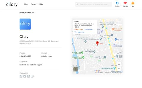 Screenshot of Contact Page cilory.com - Contact Us - Customer Care - Cilory - captured Oct. 12, 2019