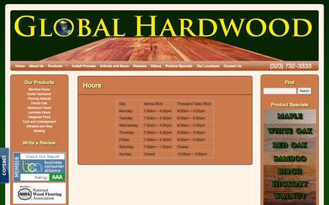 Screenshot of Hours Page ghardwoodflooring.com - Hours | Hard Wood Flooring | Hardwood Floors Cost | Ghardwood.com | Global Hardwood & Supplies - captured Oct. 3, 2014
