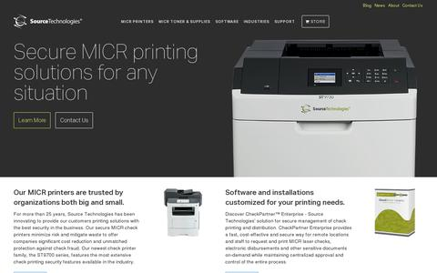 Screenshot of Home Page sourcetech.com - MICR Check Printing & Secure Document Printing | Source Technologies - captured July 17, 2014