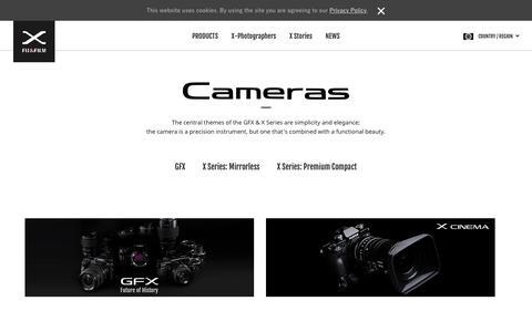 Screenshot of Products Page fujifilm-x.com - Cameras   FUJIFILM X Series & GFX – Global - captured Dec. 13, 2018