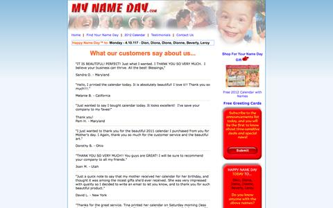 Screenshot of Testimonials Page mynameday.com - Contact MyNameDay.com - captured April 10, 2017