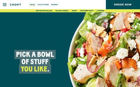 Screenshot of Menu Page choptsalad.com - CHOPT | Menu - captured Sept. 22, 2018