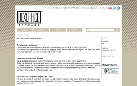 Screenshot of FAQ Page boxofficetoscana.it captured Oct. 30, 2014