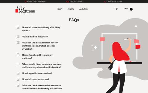 Screenshot of FAQ Page citymattress.com - Visit City Mattress today and our friendly staff will answer all your - City Mattress - captured July 18, 2018