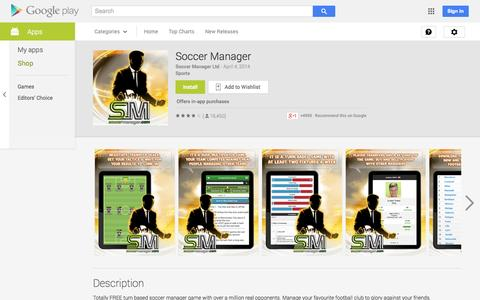 Screenshot of Android App Page google.com - Soccer Manager - Android Apps on Google Play - captured Oct. 22, 2014