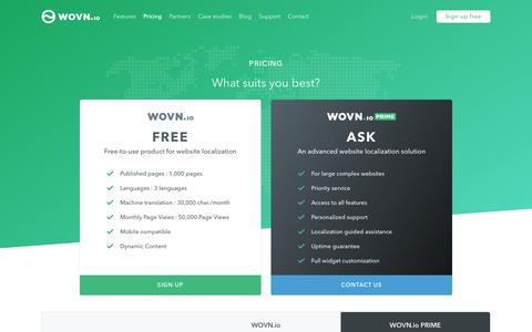 Screenshot of Pricing Page wovn.io - Pricing   Translate your website in 5 minutes   WOVN.io - captured Dec. 19, 2017
