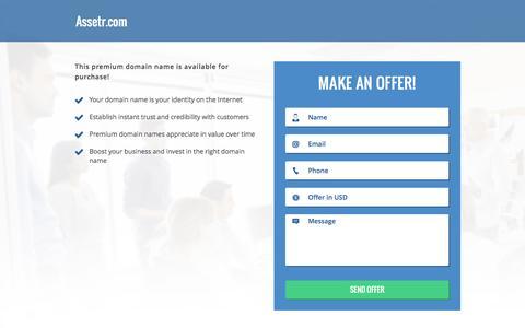 Screenshot of Home Page assetr.com - Assetr.com domain name is for sale. Inquire now. - captured Nov. 21, 2016