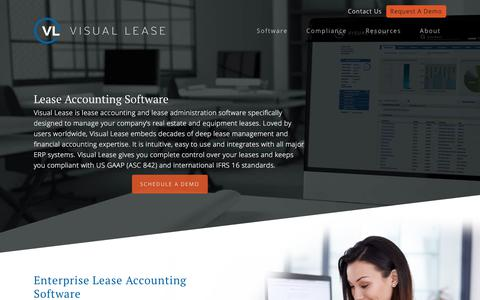 Screenshot of Home Page visuallease.com - VisualLease | Lease Software By Lease Professionals - captured Sept. 23, 2019