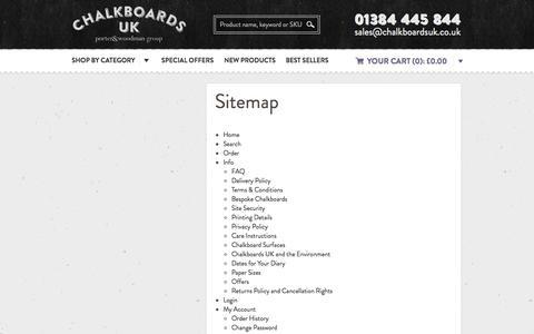 Screenshot of Site Map Page chalkboardsuk.co.uk - Chalkboards UK - Blackboards, Chalkboards and Retail Display manufacturer - captured Oct. 28, 2014