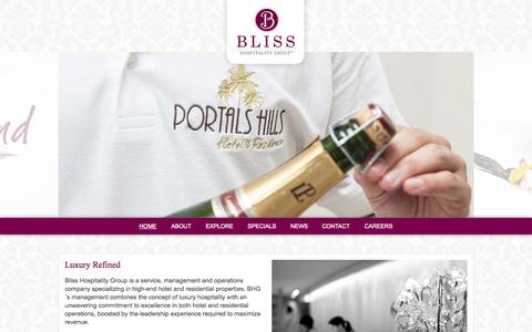 Screenshot of Home Page bliss-hospitality.com - Bliss Hospitality Group - Official Site - captured Oct. 5, 2014