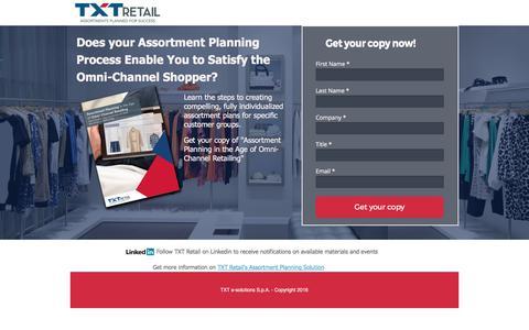 Screenshot of Landing Page txtgroup.com - Assortment planning whitepaper - captured June 9, 2017