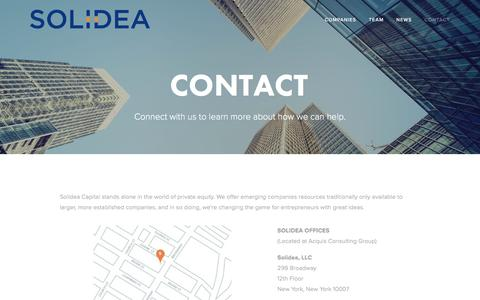 Screenshot of Contact Page solideacapital.com - Contact — Solidea Capital - captured Aug. 19, 2016