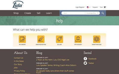 Screenshot of Support Page lulu.com - Self Publishing, Book Printing and Publishing Online - Lulu - captured Feb. 27, 2017